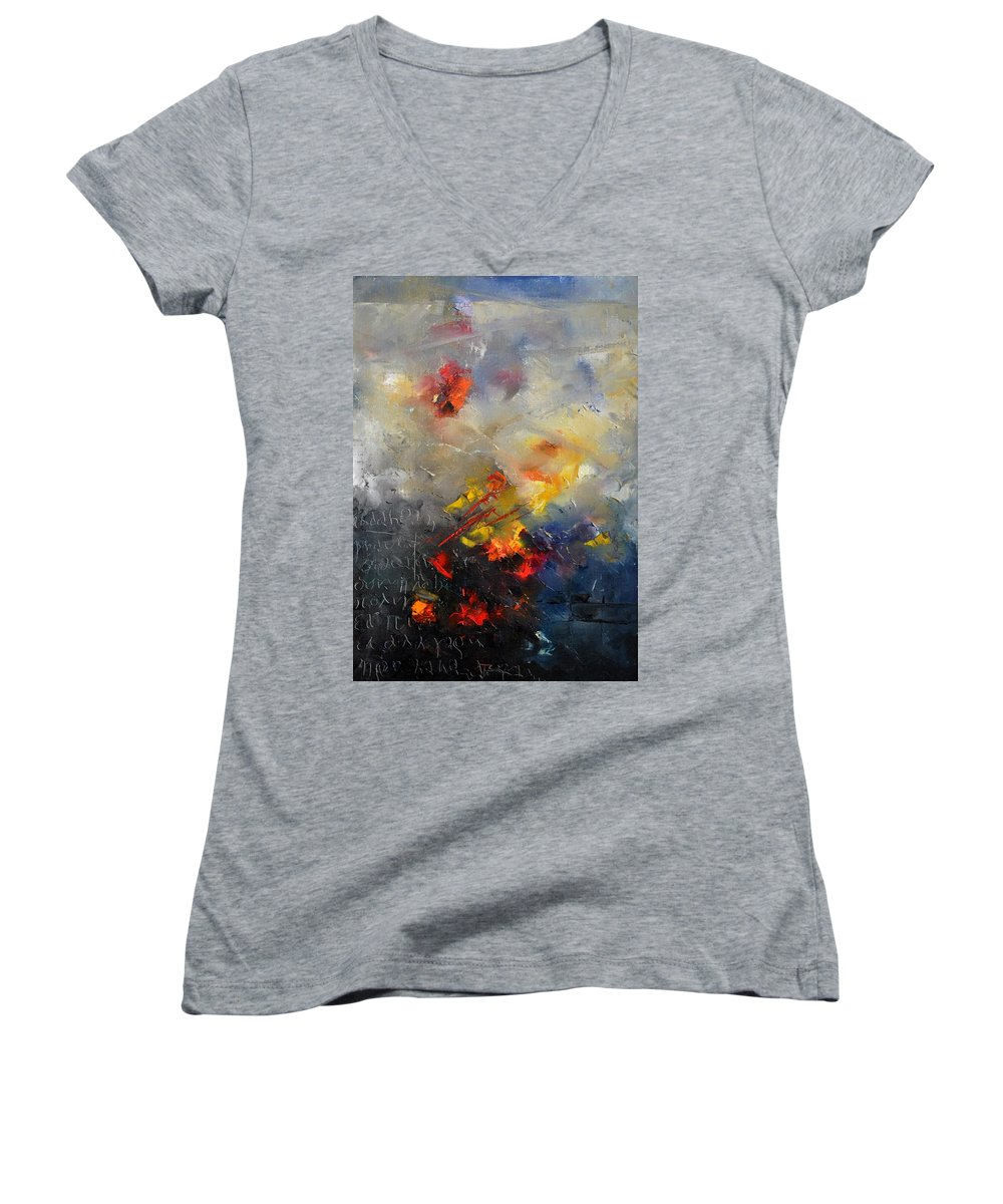 Abstract Women's V-Neck (Athletic Fit) featuring the painting Abstract 0805 by Pol Ledent