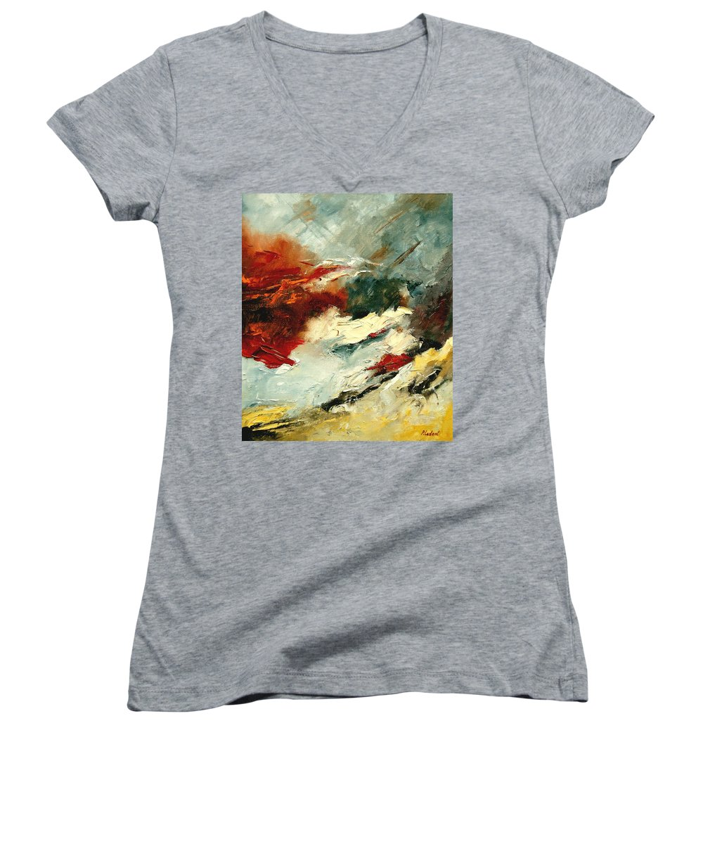 Abstract Women's V-Neck T-Shirt featuring the painting Abstract 9 by Pol Ledent