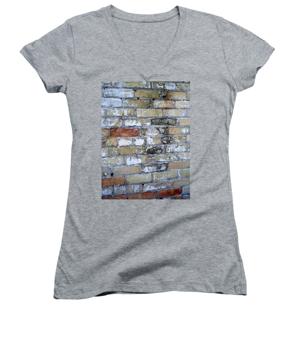 Industrial Women's V-Neck (Athletic Fit) featuring the photograph Abstract Brick 10 by Anita Burgermeister