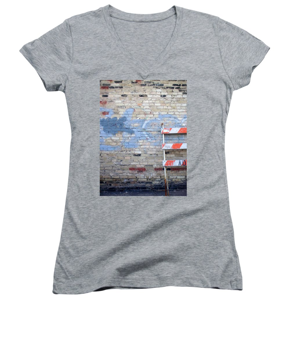 Industrial Women's V-Neck (Athletic Fit) featuring the photograph Abstract Brick 2 by Anita Burgermeister