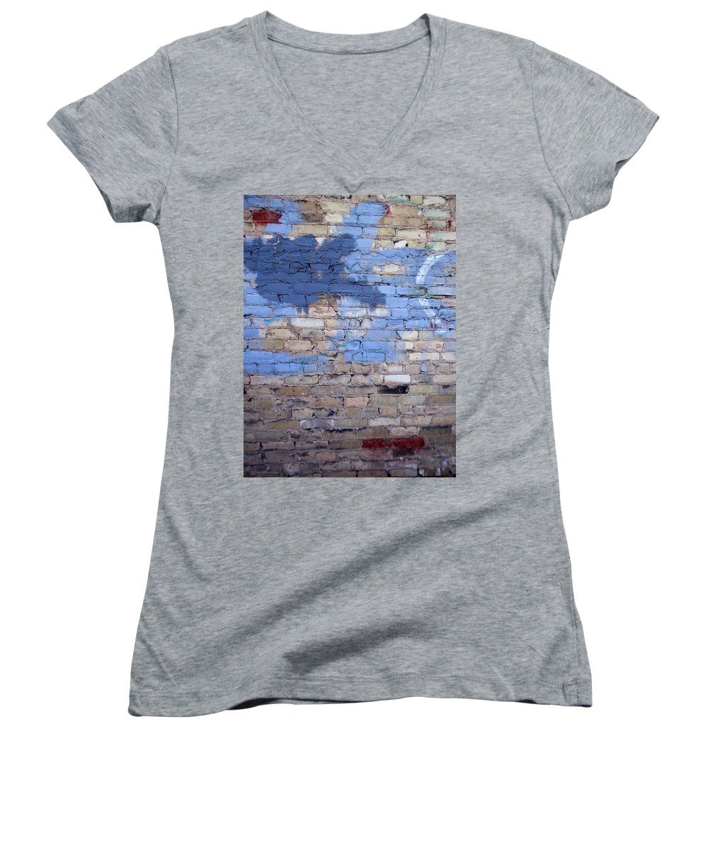 Industrial Women's V-Neck T-Shirt featuring the photograph Abstract Brick 3 by Anita Burgermeister