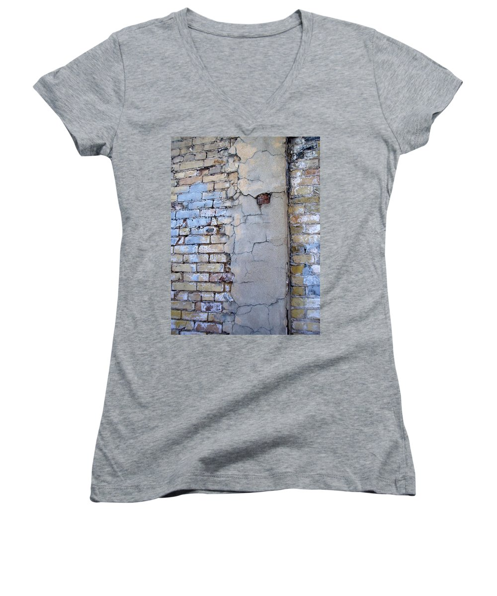 Industrial Women's V-Neck (Athletic Fit) featuring the photograph Abstract Brick 4 by Anita Burgermeister