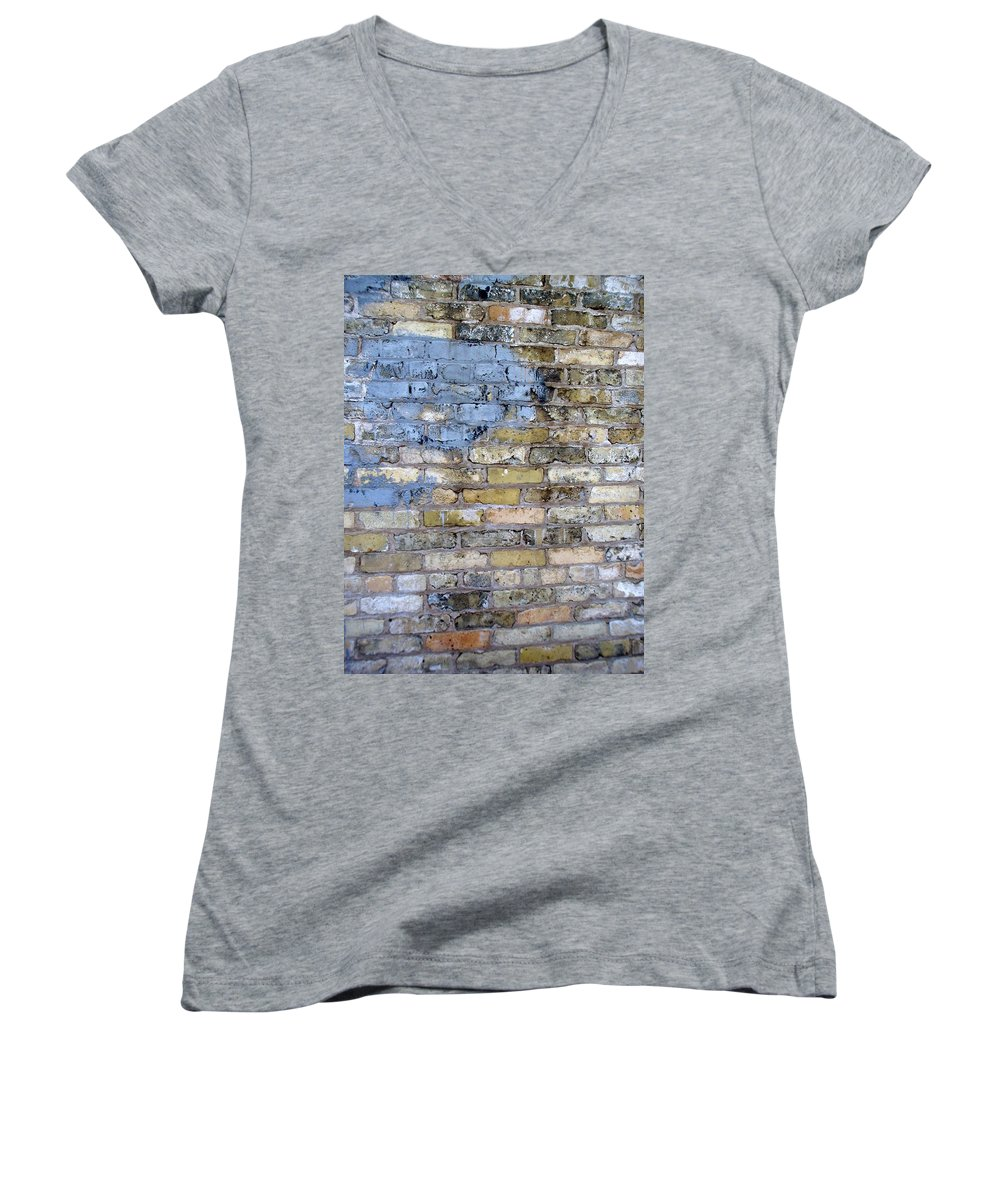 Industrial Women's V-Neck T-Shirt featuring the photograph Abstract Brick 6 by Anita Burgermeister
