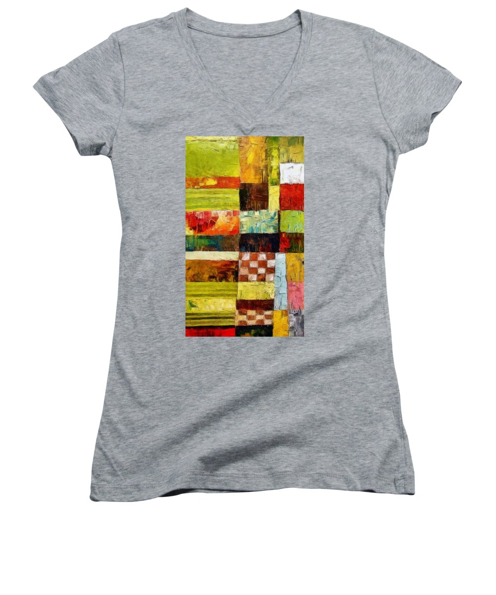 Patchwork Women's V-Neck (Athletic Fit) featuring the painting Abstract Color Study With Checkerboard And Stripes by Michelle Calkins