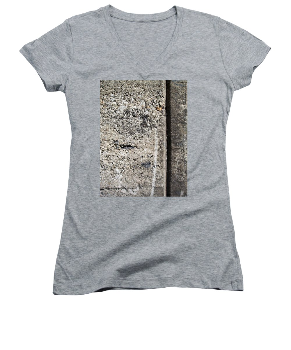 Industrial. Urban Women's V-Neck (Athletic Fit) featuring the photograph Abstract Concrete 16 by Anita Burgermeister