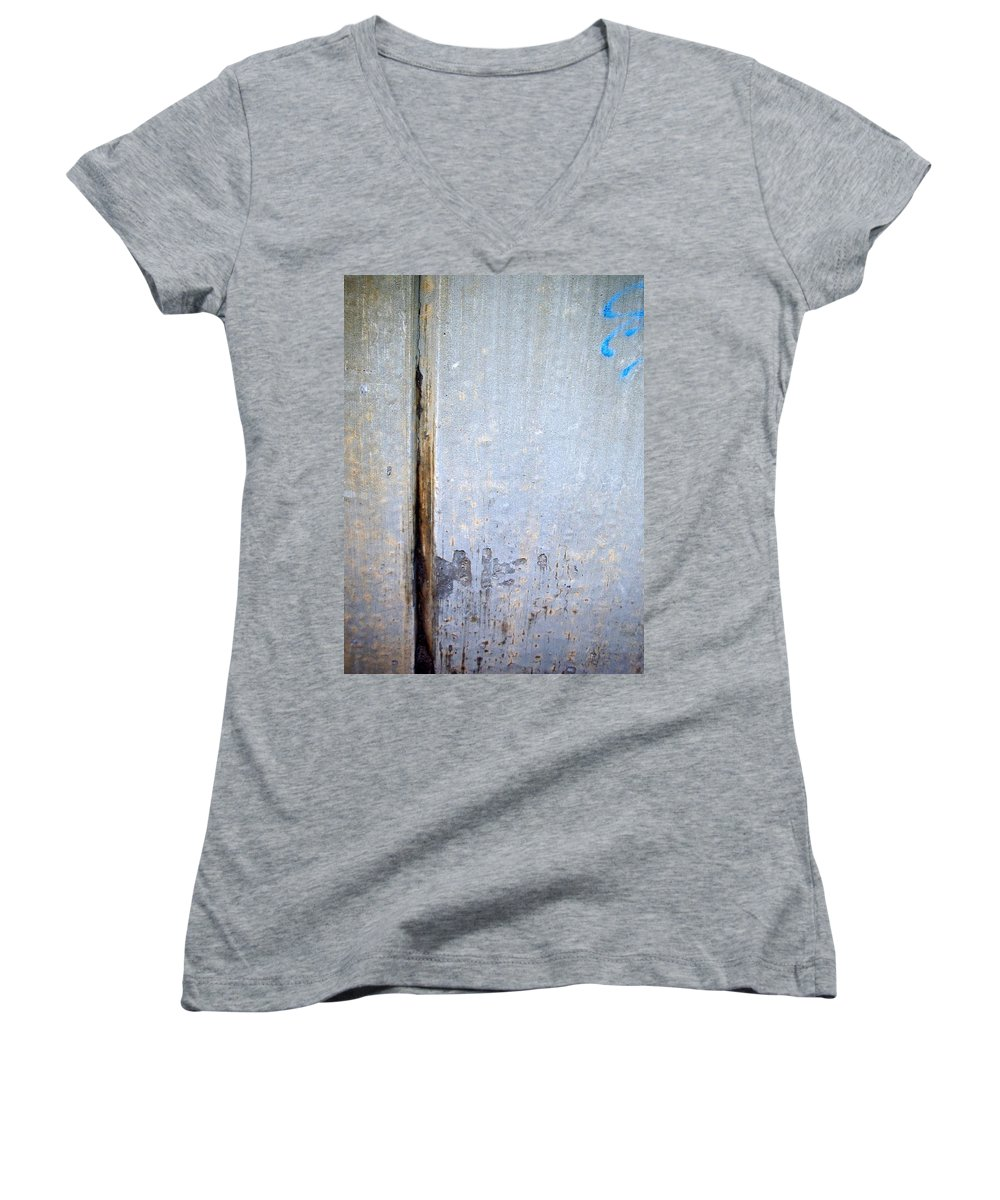 Industrial. Urban Women's V-Neck (Athletic Fit) featuring the photograph Abstract Concrete 19 by Anita Burgermeister