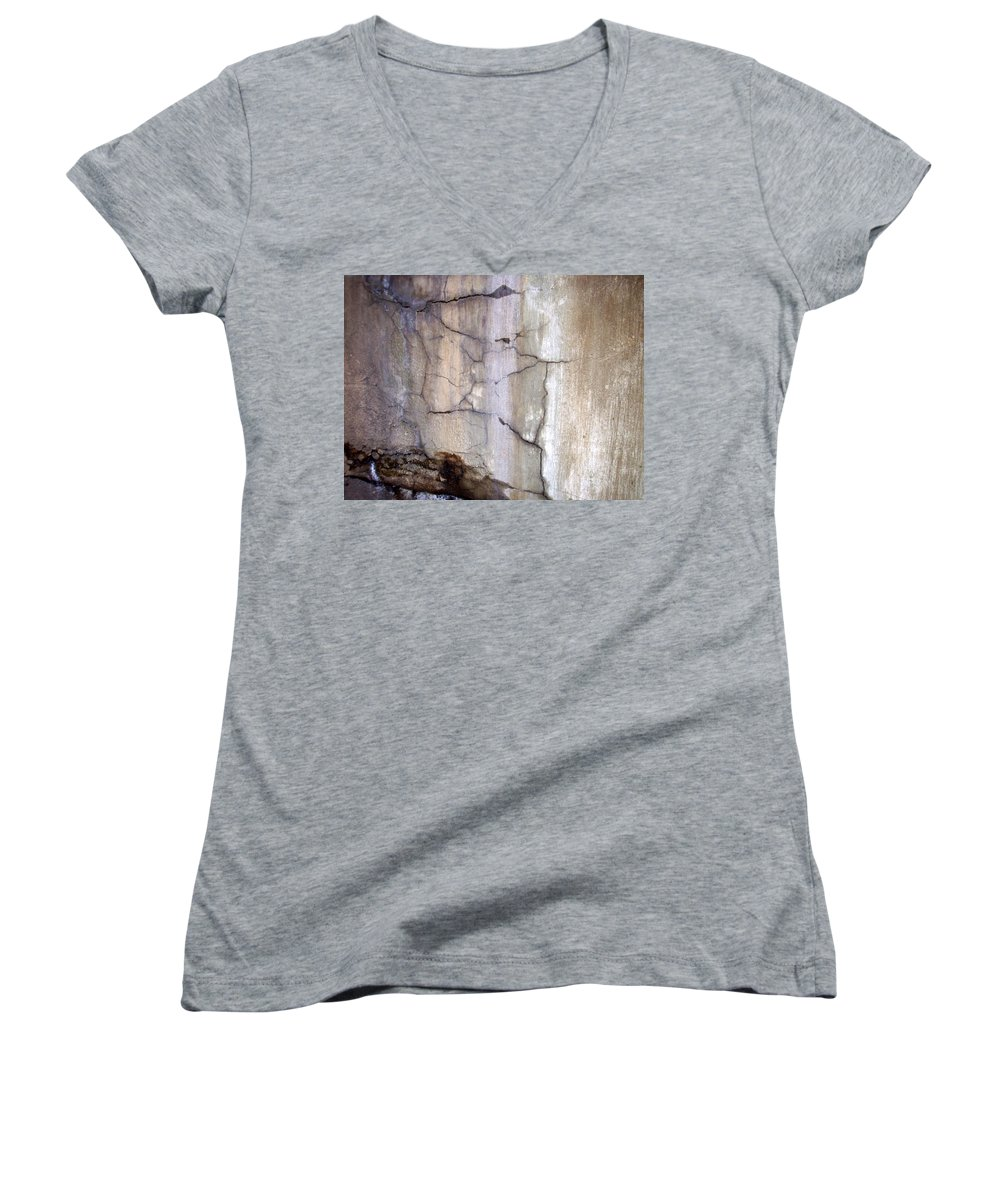 Industrial. Urban Women's V-Neck T-Shirt featuring the photograph Abstract Concrete 2 by Anita Burgermeister