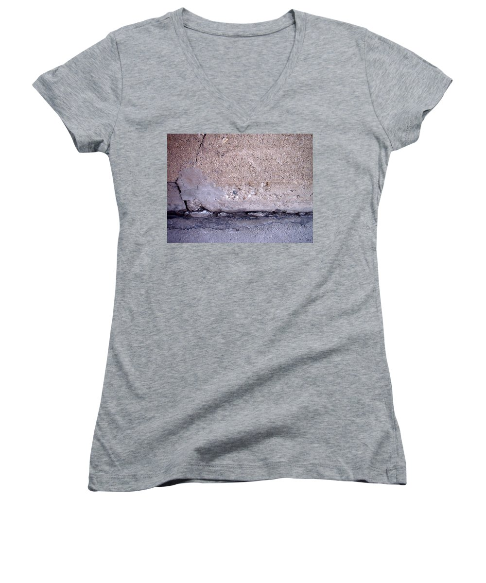 Industrial. Urban Women's V-Neck T-Shirt featuring the photograph Abstract Concrete 4 by Anita Burgermeister