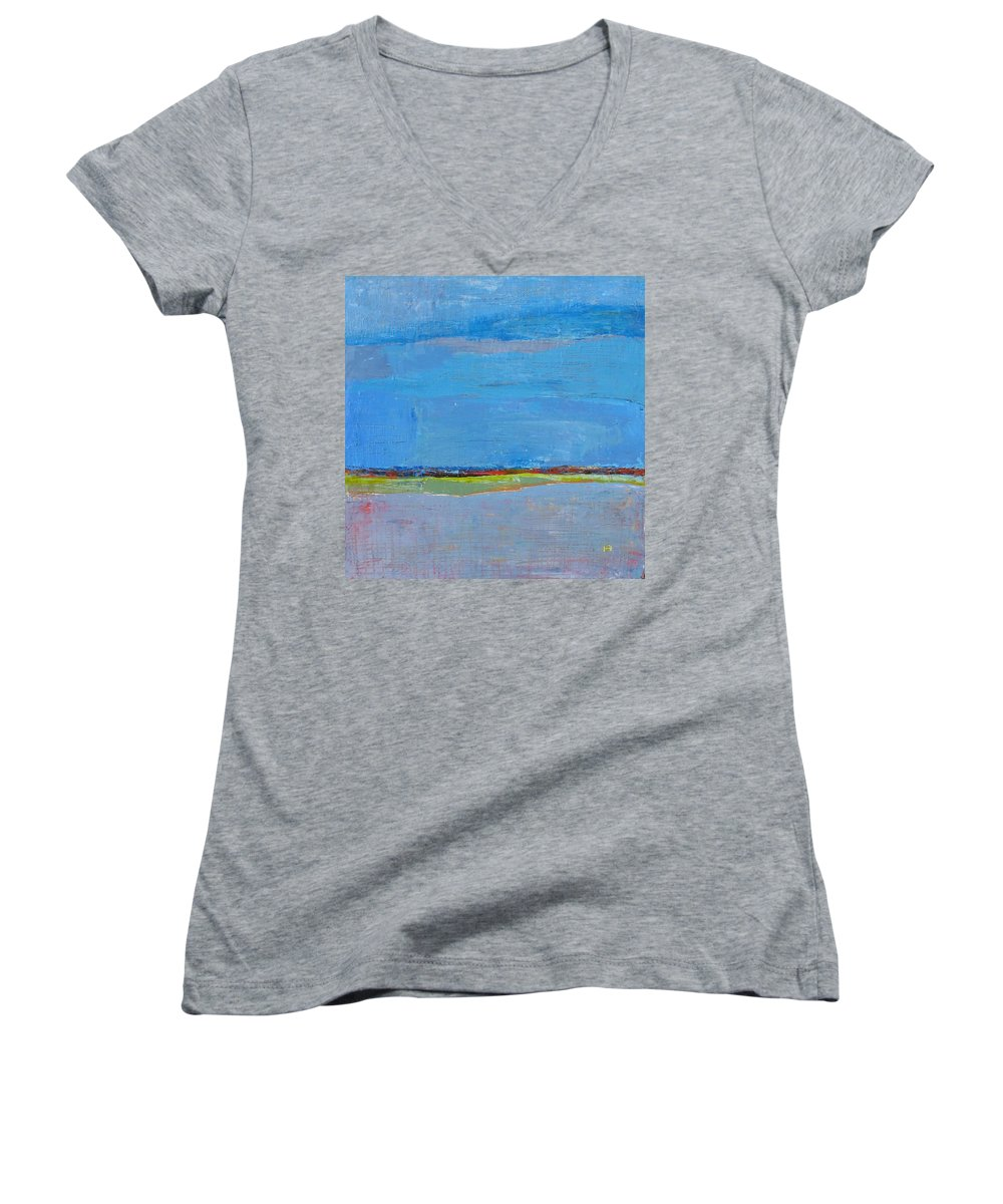 Women's V-Neck (Athletic Fit) featuring the painting Abstract Landscape1 by Habib Ayat