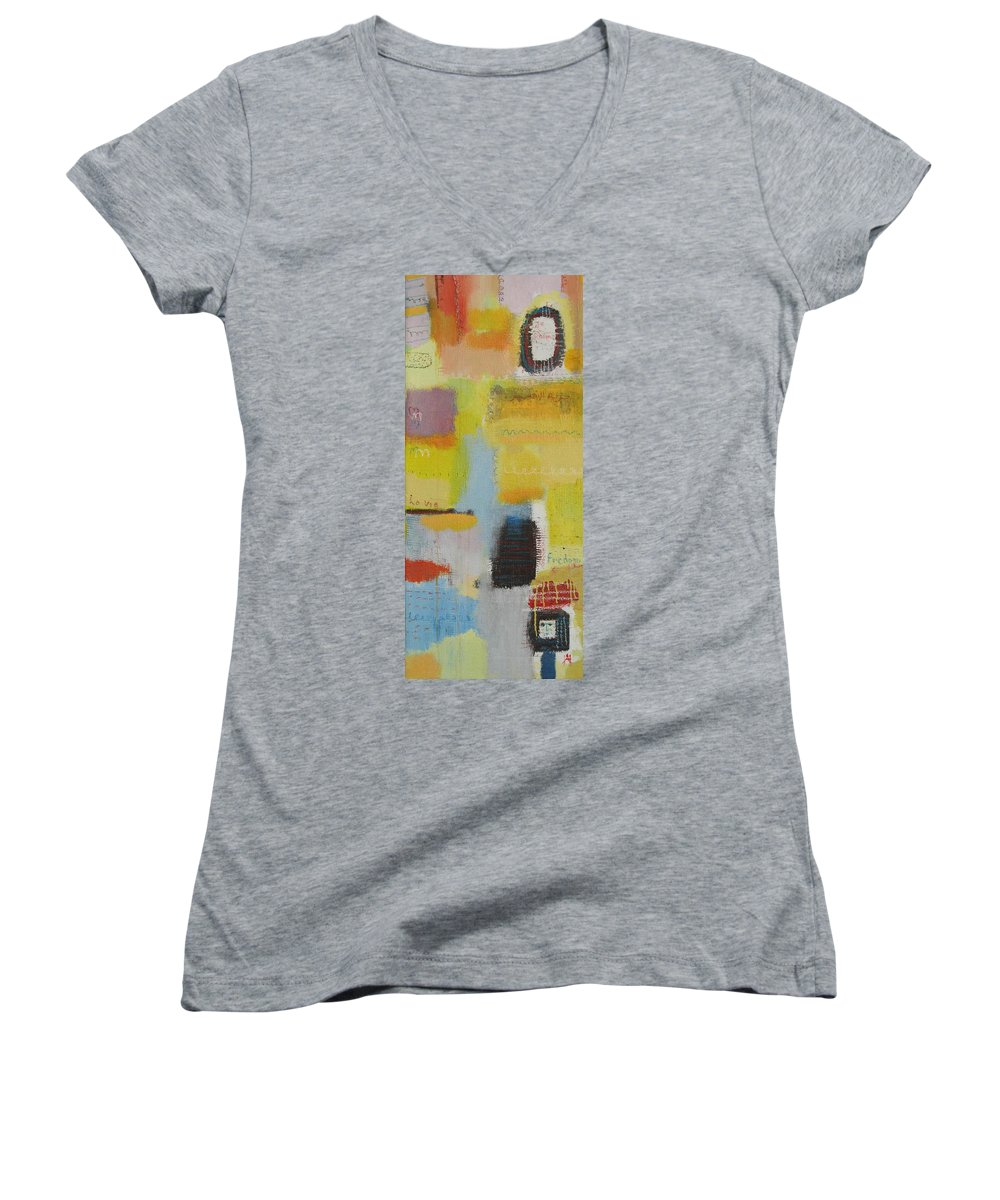 Abstract Women's V-Neck T-Shirt featuring the painting Abstract Life 3 by Habib Ayat