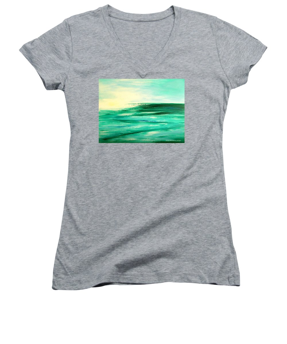 Sunsets Women's V-Neck featuring the painting Abstract Sunset In Blue And Green by Gina De Gorna