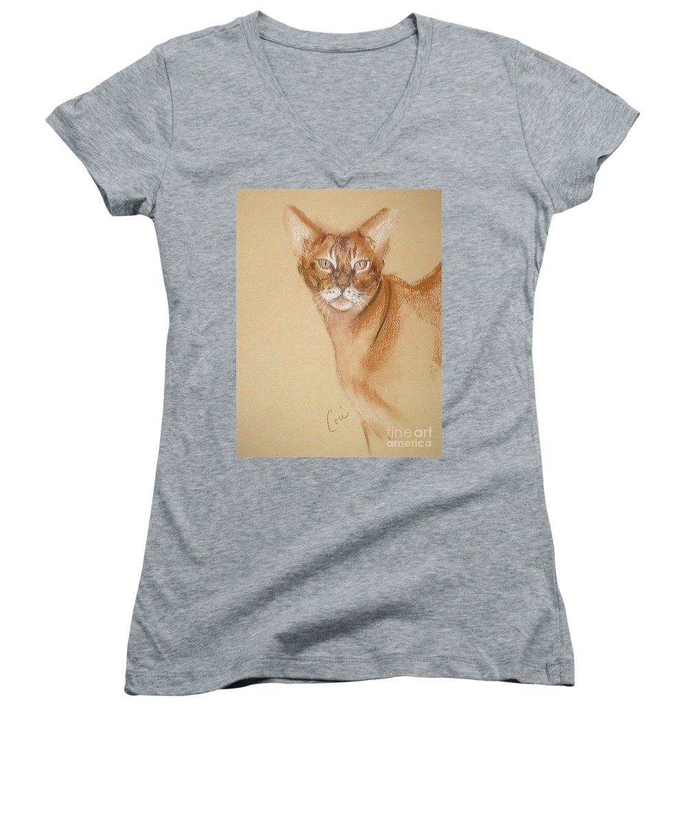 Pastel Women's V-Neck (Athletic Fit) featuring the drawing Abyssinian by Cori Solomon