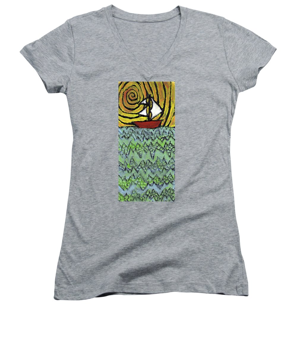 Sailing Women's V-Neck (Athletic Fit) featuring the painting Afloat On The Bubbling Sea by Wayne Potrafka