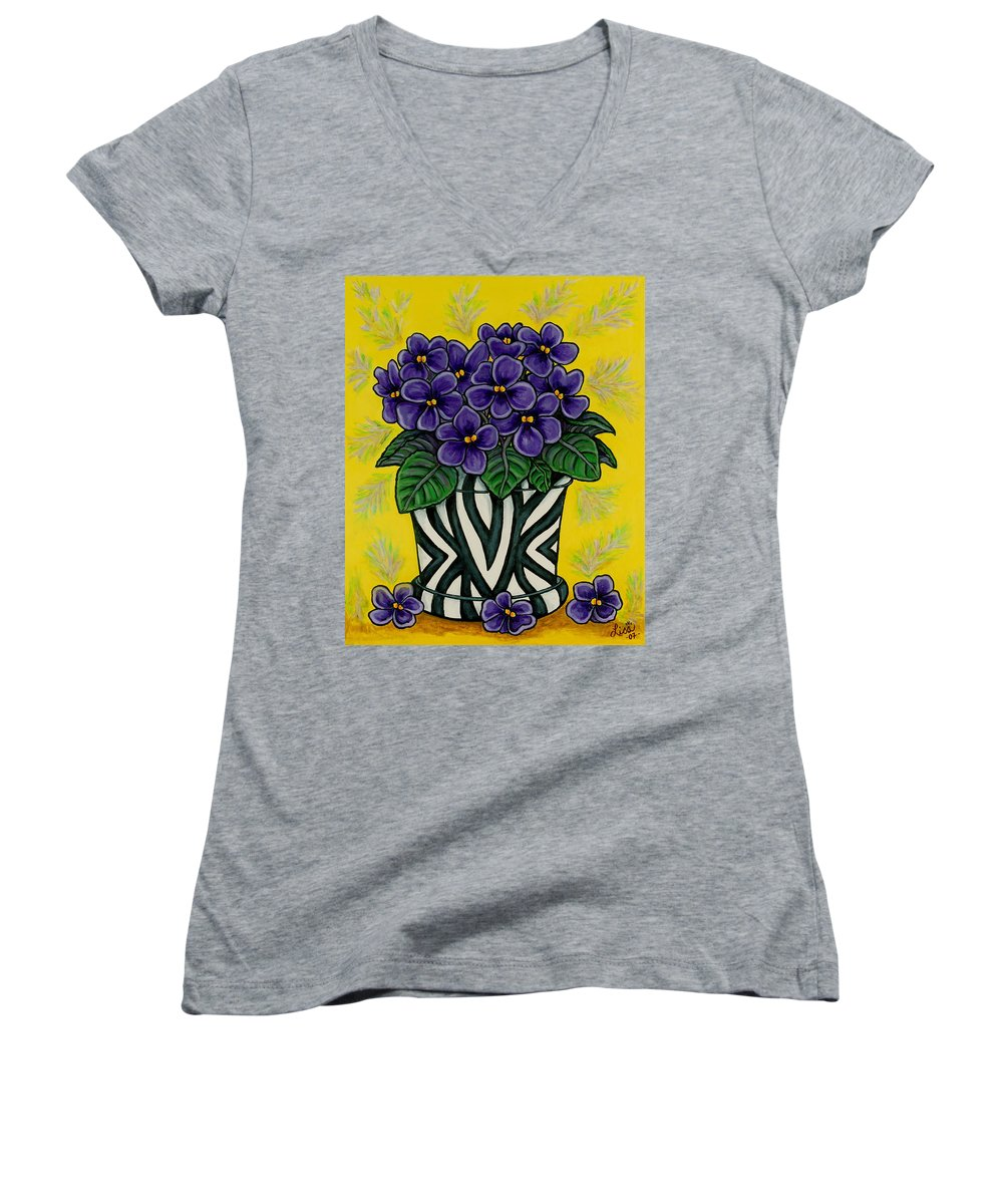 Violets Women's V-Neck T-Shirt featuring the painting African Queen by Lisa Lorenz