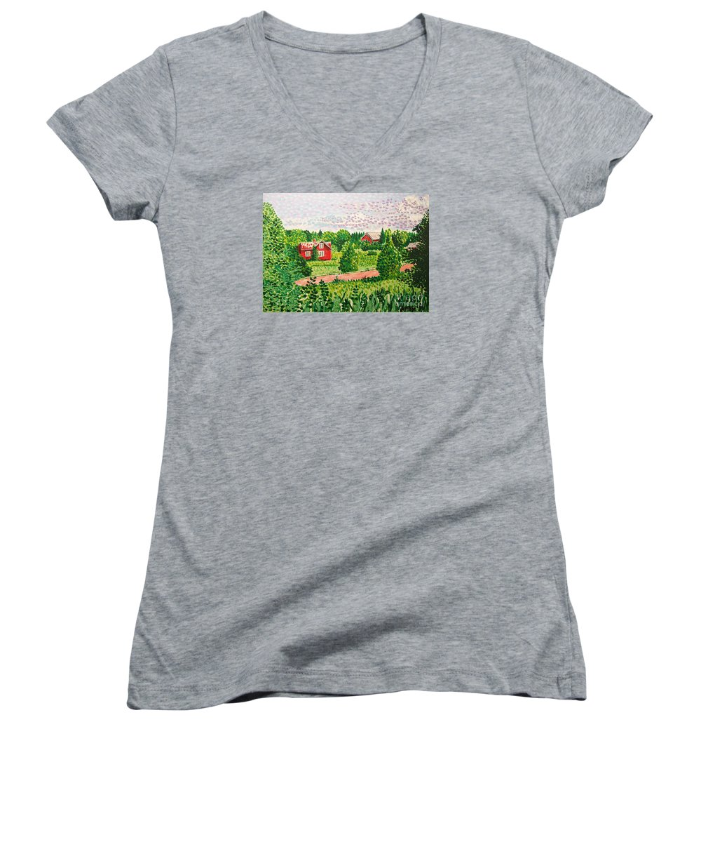 Aland Women's V-Neck T-Shirt featuring the painting Aland Landscape by Alan Hogan