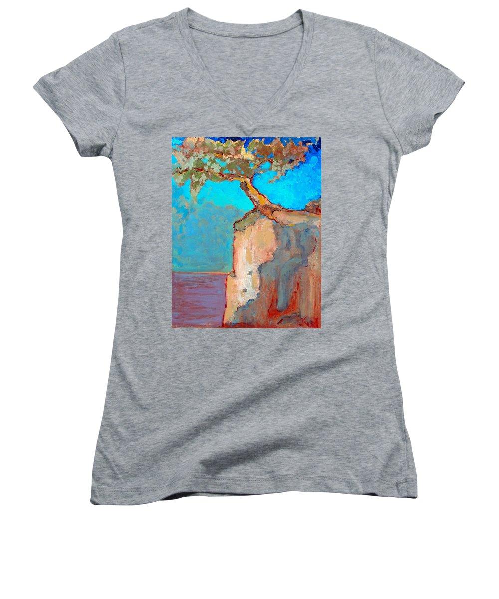 Tree Women's V-Neck T-Shirt featuring the painting Albero by Kurt Hausmann