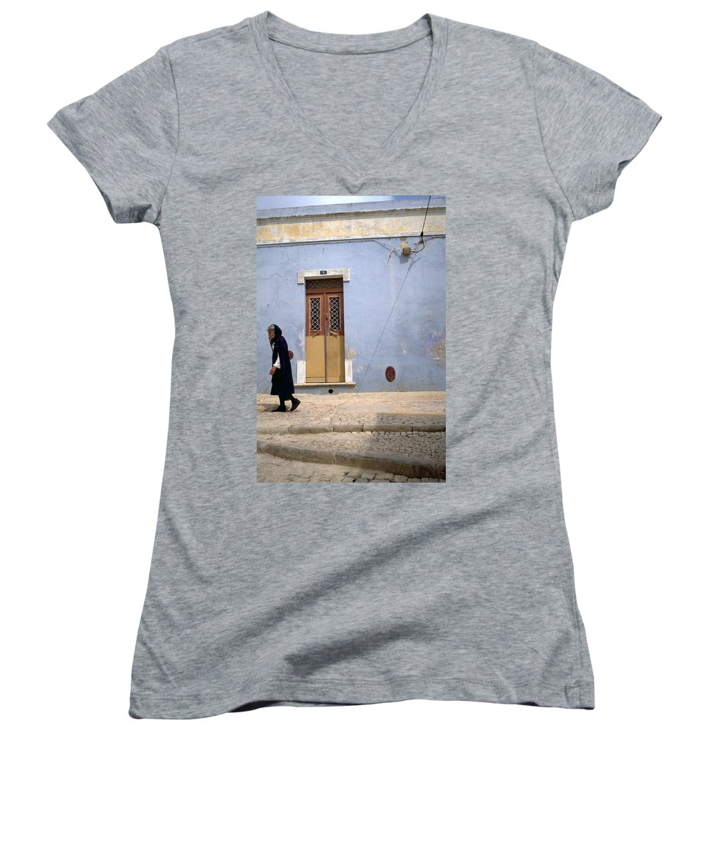 Algarve Women's V-Neck T-Shirt featuring the photograph Algarve II by Flavia Westerwelle