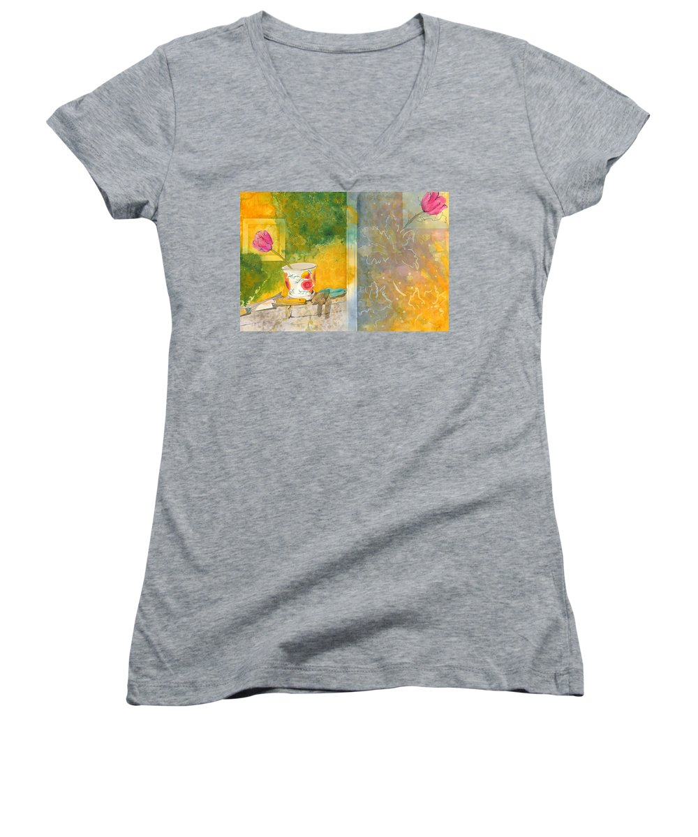 Garden Women's V-Neck T-Shirt featuring the painting Along The Garden Wall by Jean Blackmer