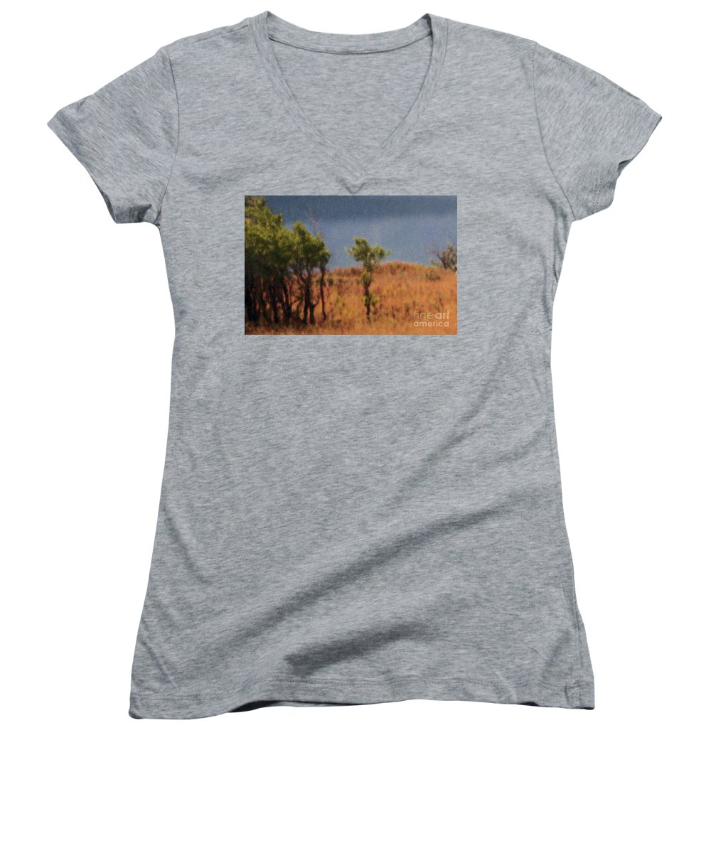 Field Women's V-Neck (Athletic Fit) featuring the digital art Along The Lake by Richard Rizzo