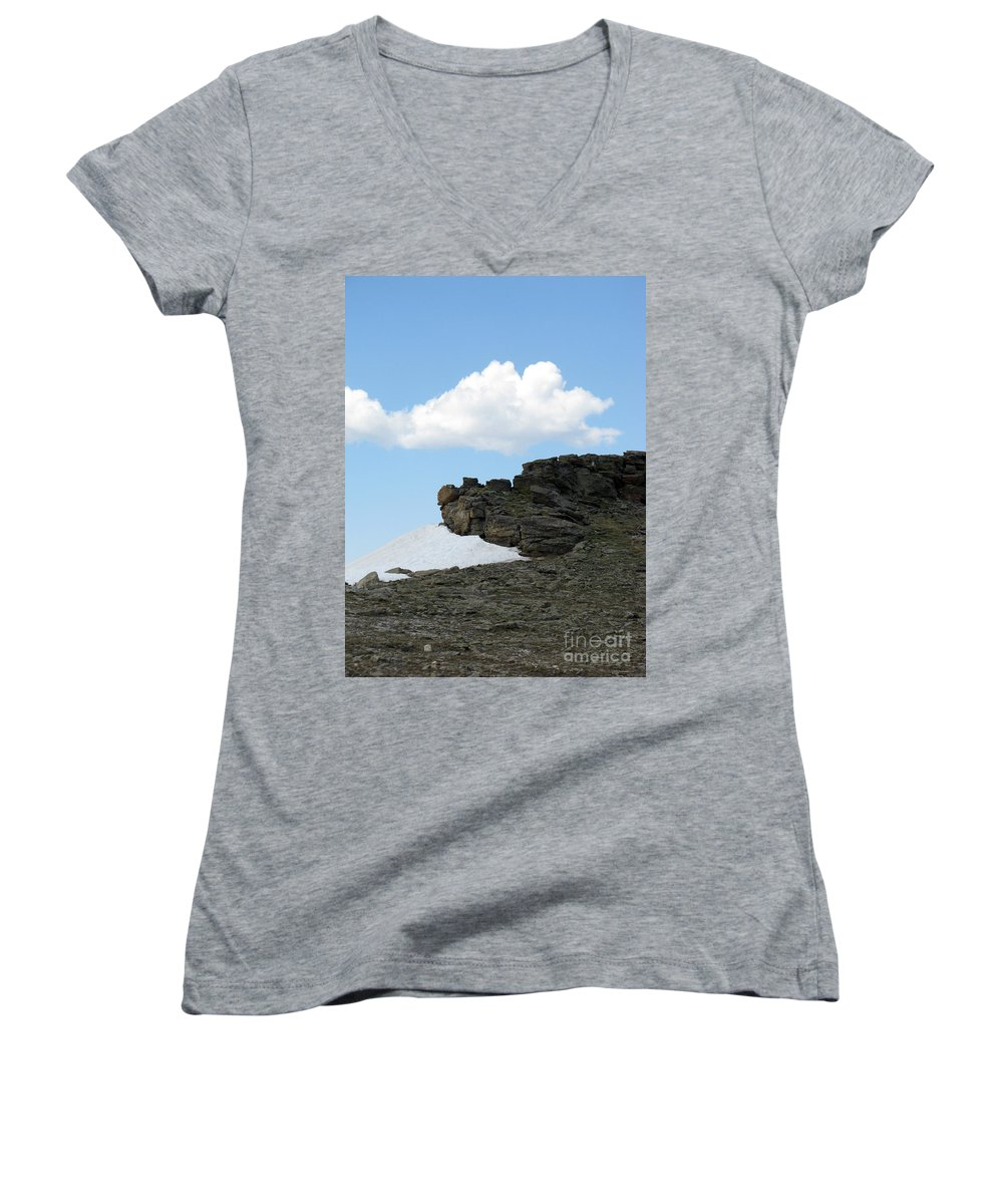 Rocky Mountains Women's V-Neck T-Shirt featuring the photograph Alpine Tundra - Up In The Clouds by Amanda Barcon