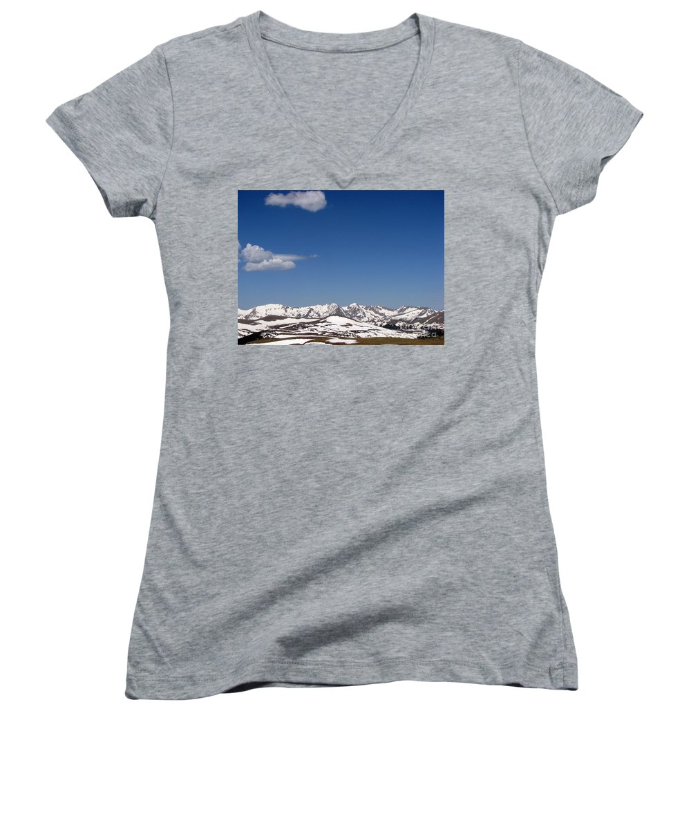 Mountains Women's V-Neck T-Shirt featuring the photograph Alpine Tundra Series by Amanda Barcon