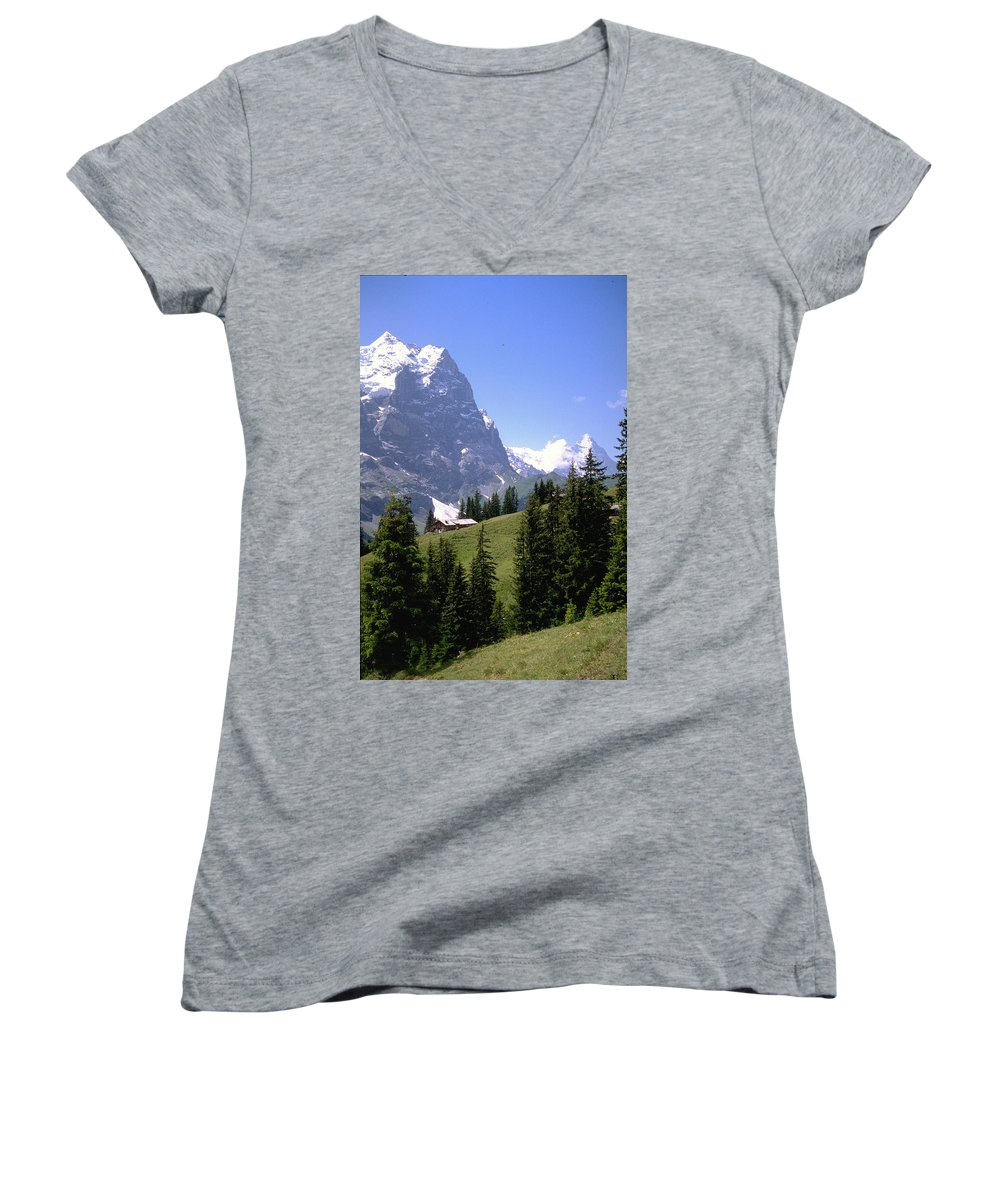 Alps Women's V-Neck T-Shirt featuring the photograph Alps by Flavia Westerwelle