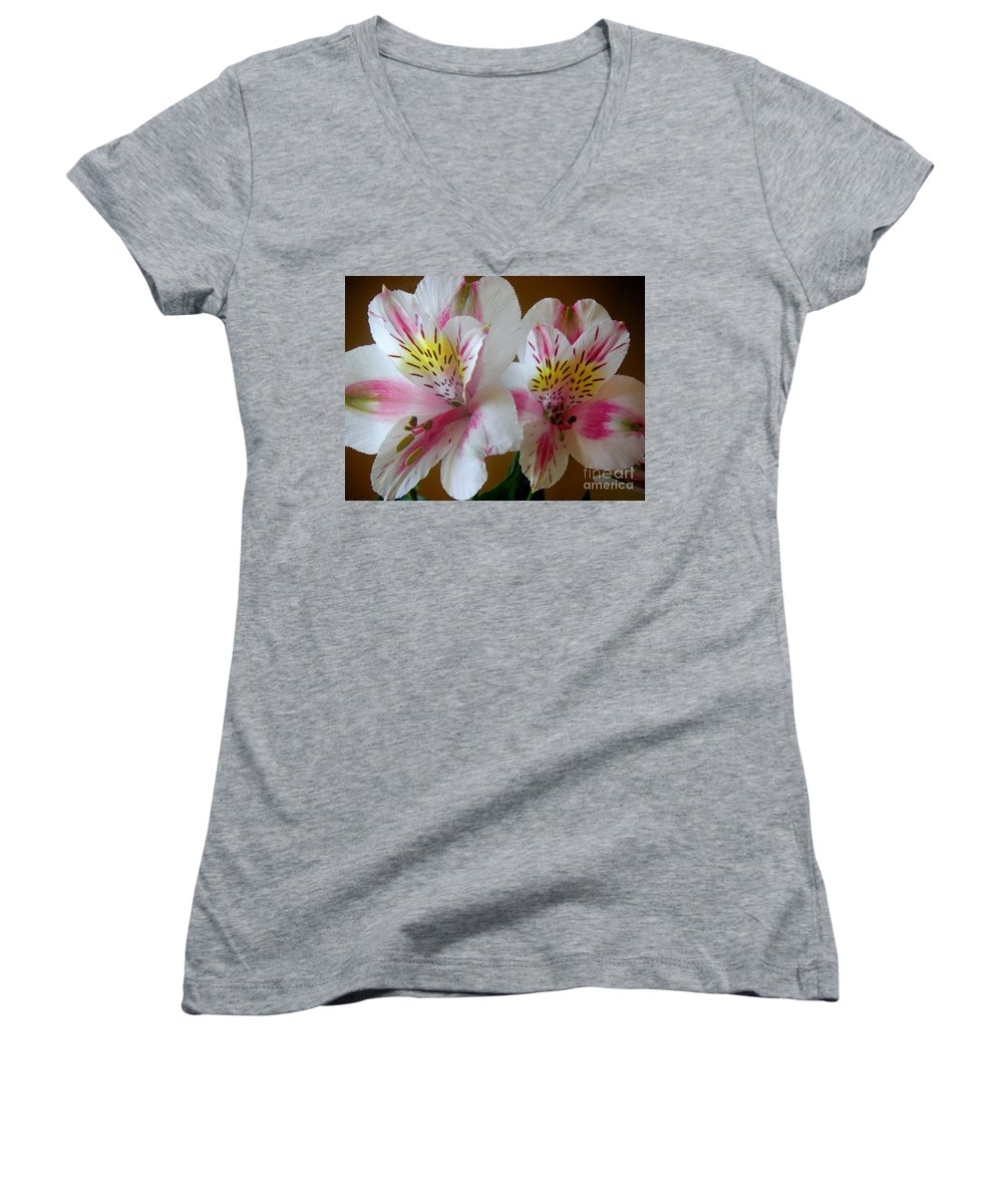 Nature Women's V-Neck T-Shirt featuring the photograph Alstroemerias - Heralding by Lucyna A M Green