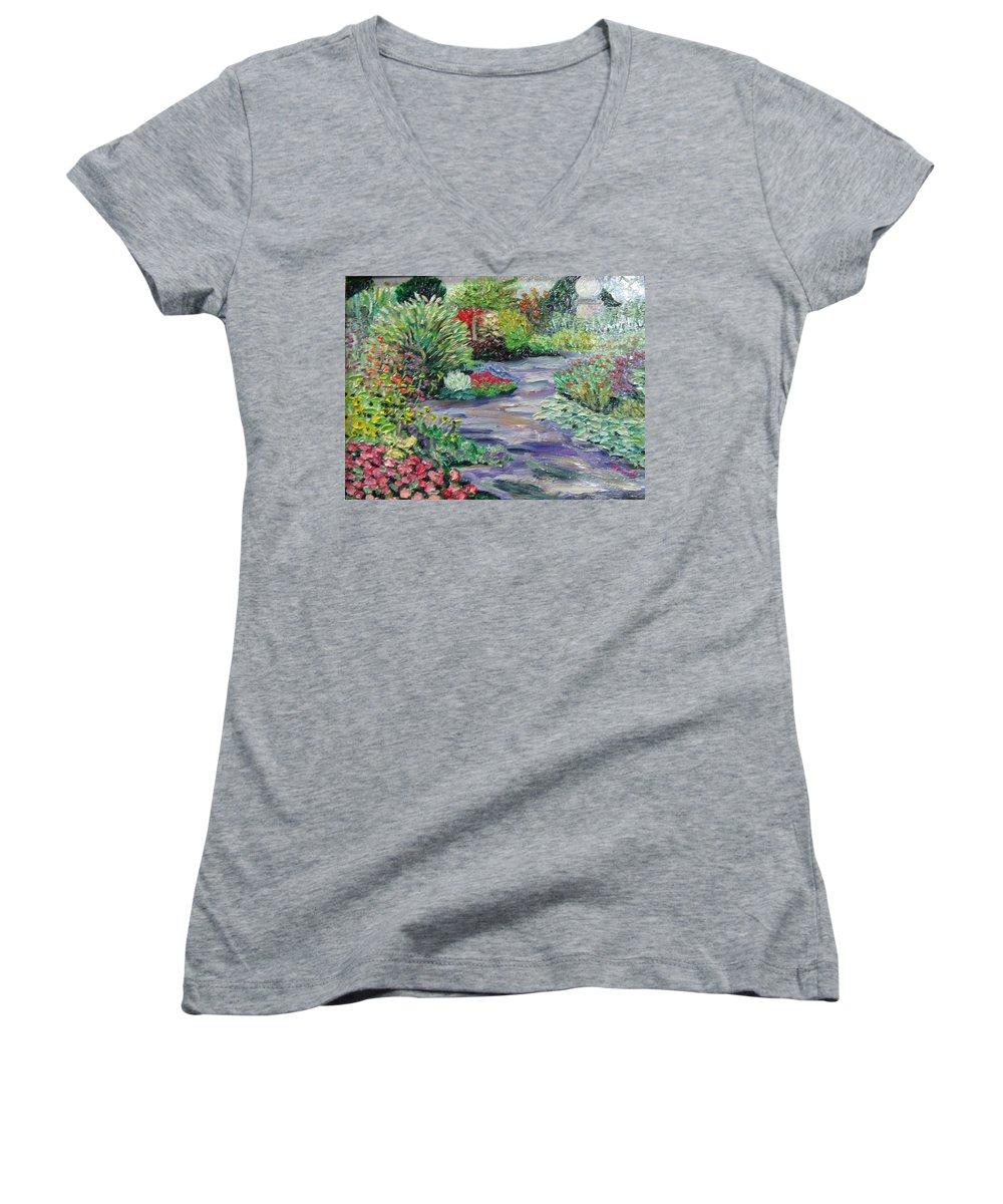 Park Women's V-Neck T-Shirt featuring the painting Amelia Park Blossoms by Richard Nowak