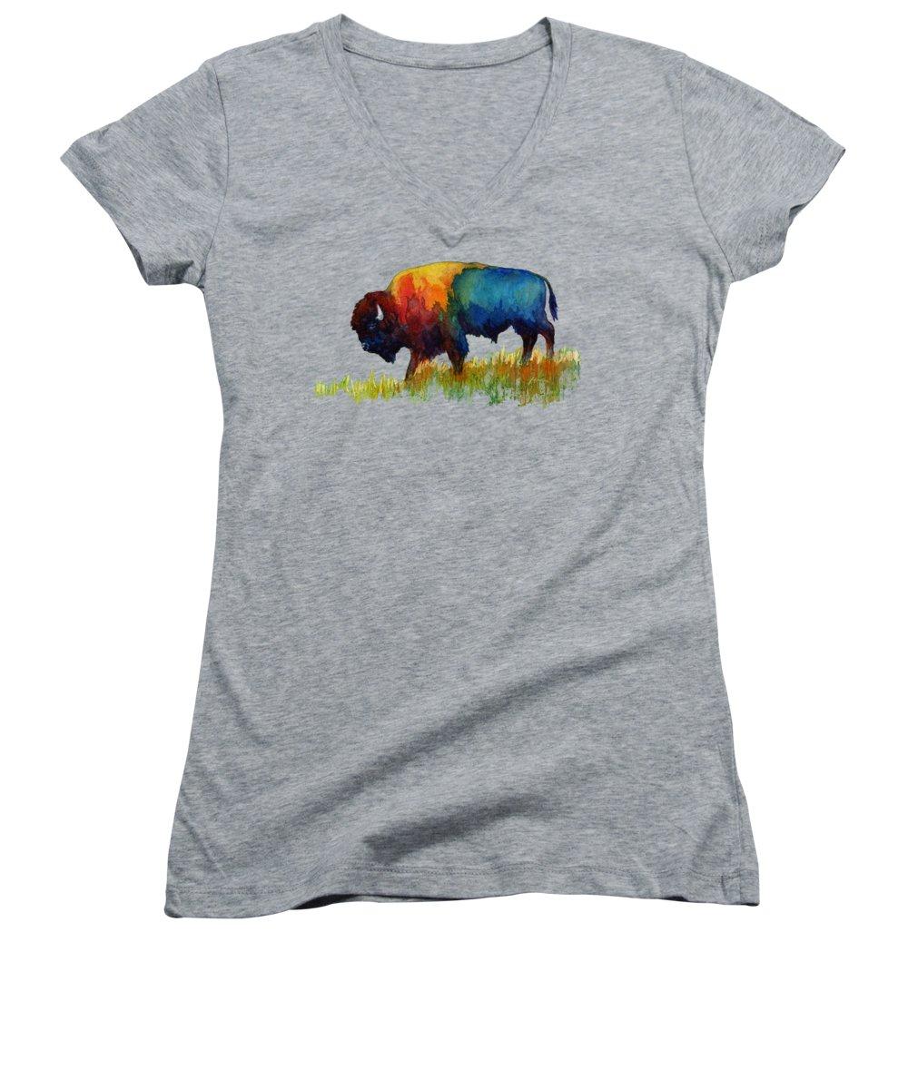 Bison Women's V-Neck T-Shirts