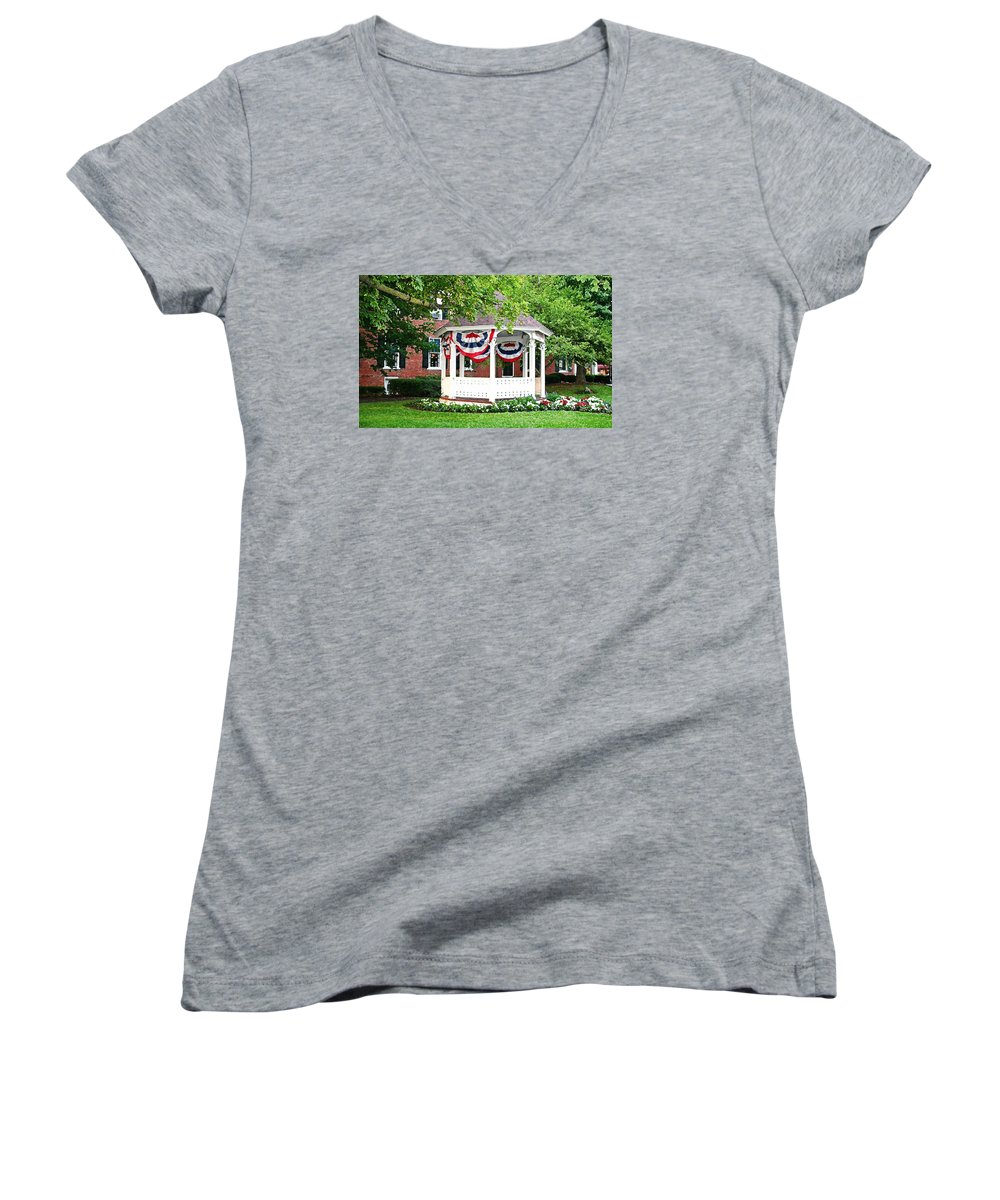 Gazebo Women's V-Neck (Athletic Fit) featuring the photograph American Gazebo by Margie Wildblood