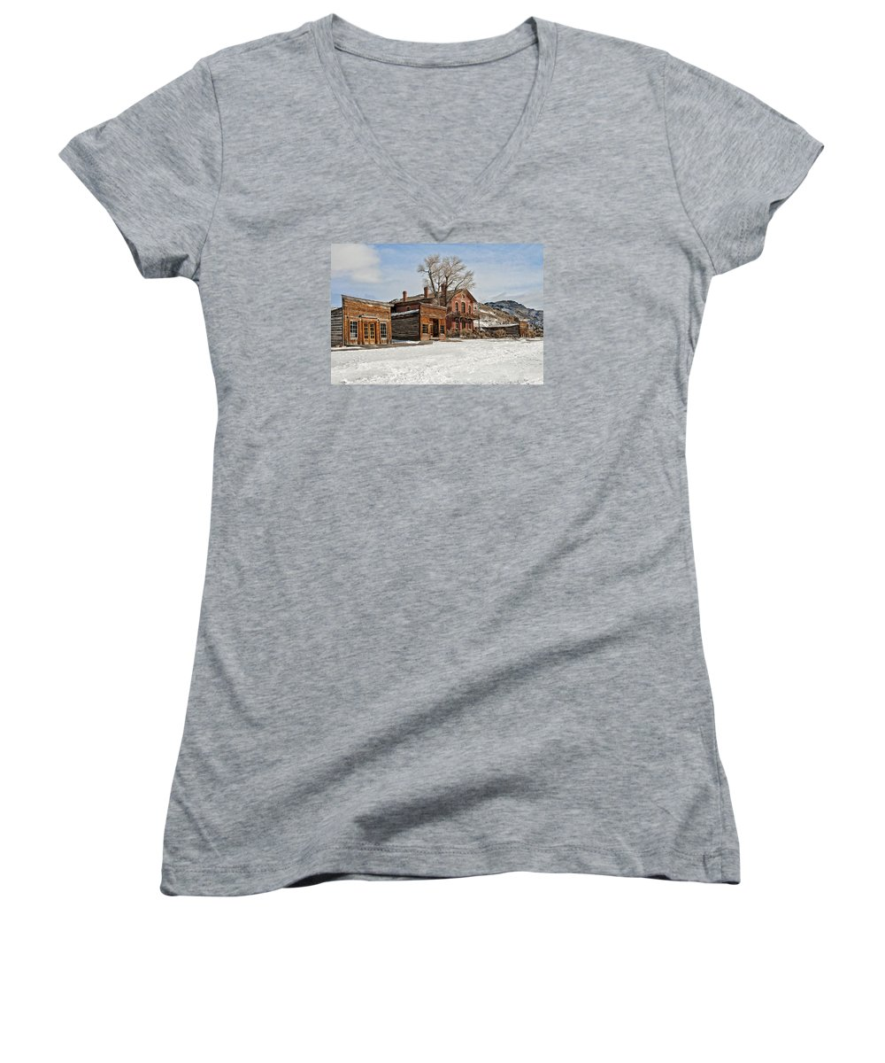 Americana Women's V-Neck featuring the photograph American Ghost Town by Scott Read