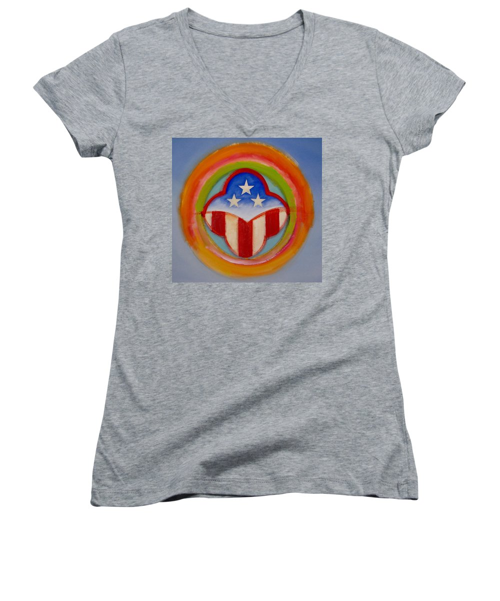 Logo Women's V-Neck T-Shirt featuring the painting American Three Star Landscape by Charles Stuart