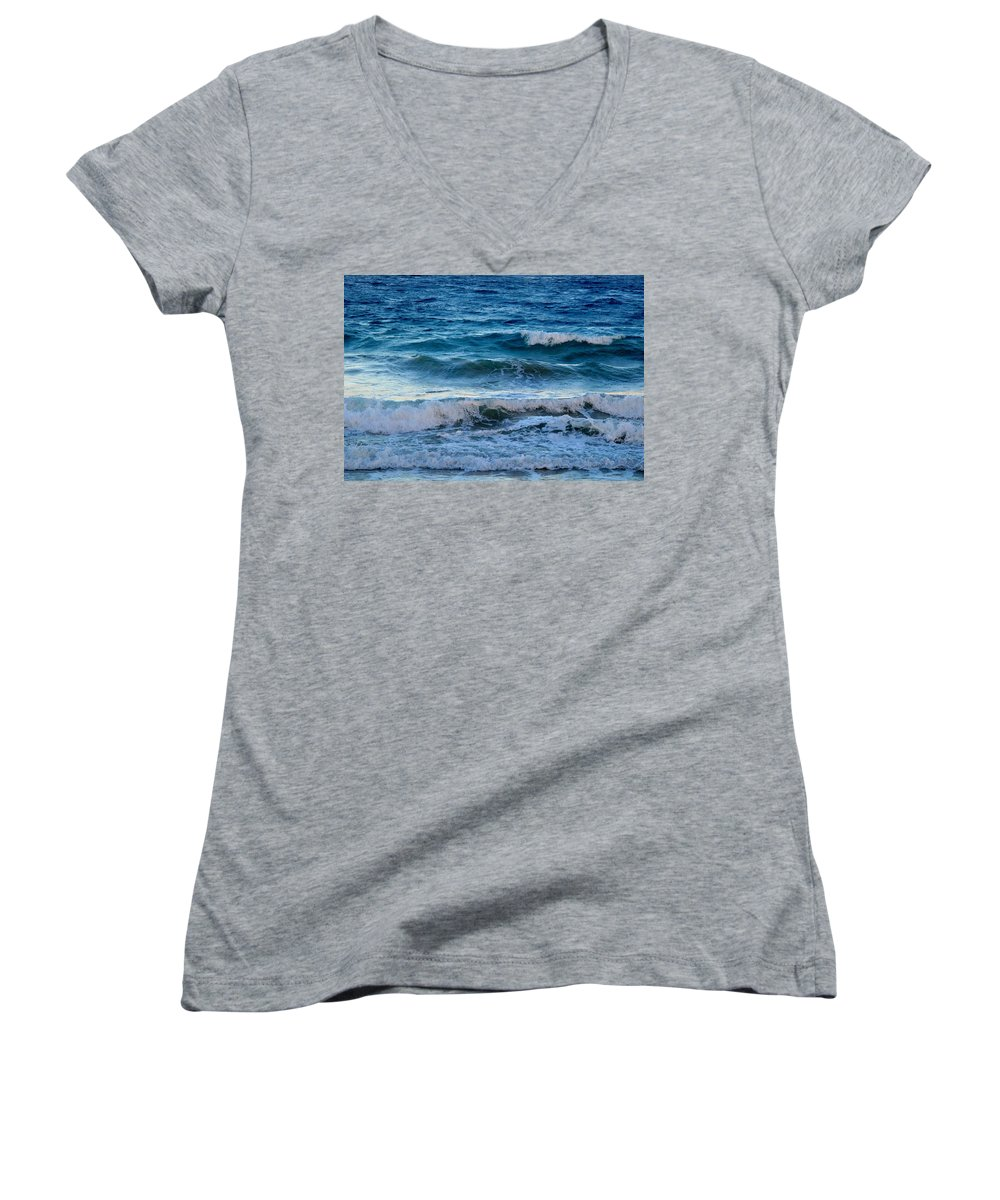 Sea Women's V-Neck T-Shirt featuring the photograph An Unforgiving Sea by Ian MacDonald
