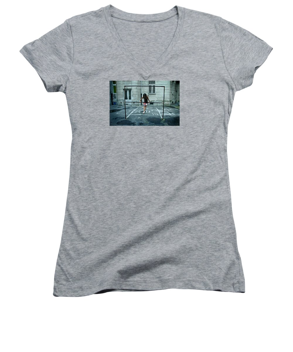 Children Women's V-Neck T-Shirt featuring the photograph Ana At The Barre by Michael Ziegler