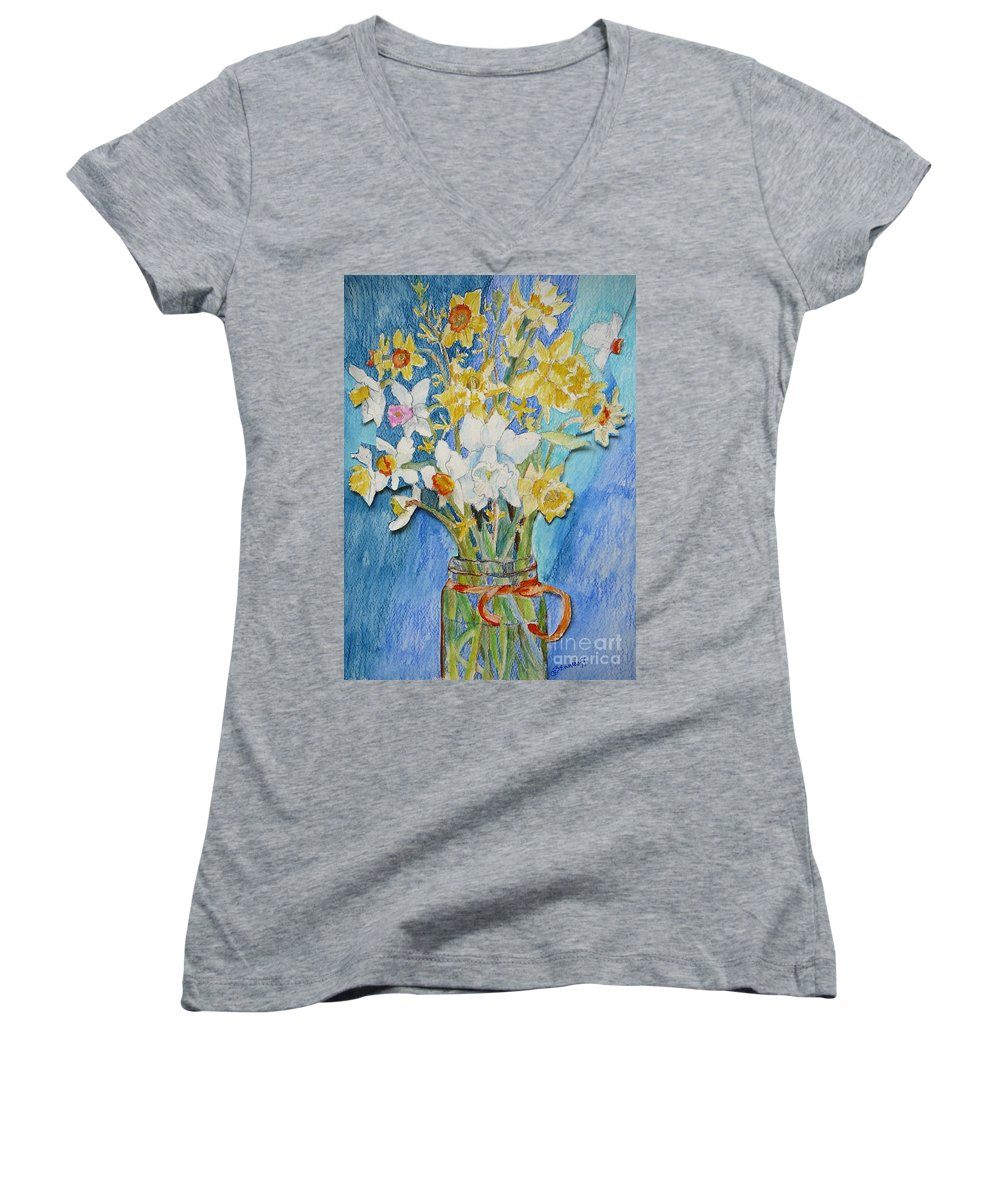 Flowers Women's V-Neck T-Shirt featuring the painting Angels Flowers by Jan Bennicoff
