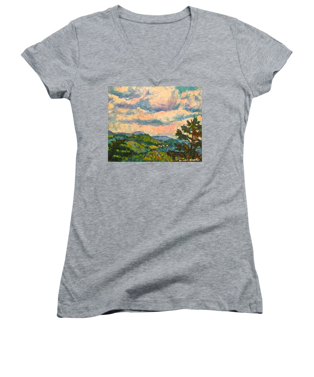 Landscape Paintings Women's V-Neck (Athletic Fit) featuring the painting Another Rocky Knob by Kendall Kessler