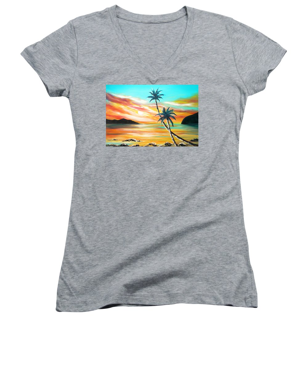Sunset Women's V-Neck (Athletic Fit) featuring the painting Another Sunset In Paradise by Gina De Gorna
