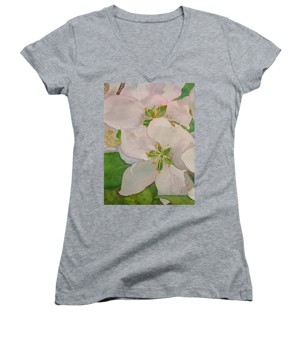 Apple Blossoms Women's V-Neck T-Shirt featuring the painting Apple Blossoms by Sharon E Allen