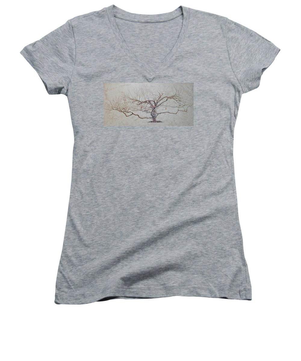 Apple Tree Women's V-Neck (Athletic Fit) featuring the painting Apple Tree In Winter by Leah Tomaino