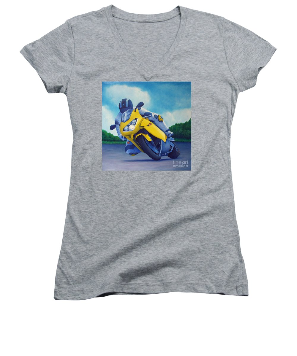 Motorcycle Women's V-Neck T-Shirt featuring the painting Aprilla - Tuesday Afternoon by Brian Commerford
