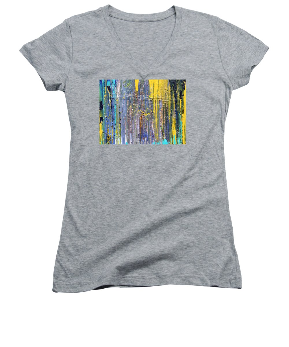 Fusionart Women's V-Neck T-Shirt featuring the painting Arachnid by Ralph White