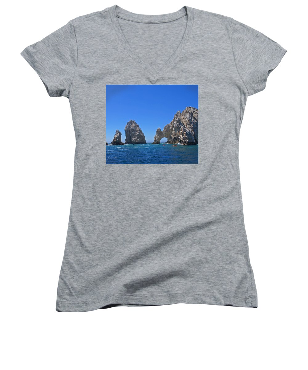 Mexico Women's V-Neck (Athletic Fit) featuring the photograph Arch At Cabo San Lucas by Heather Coen