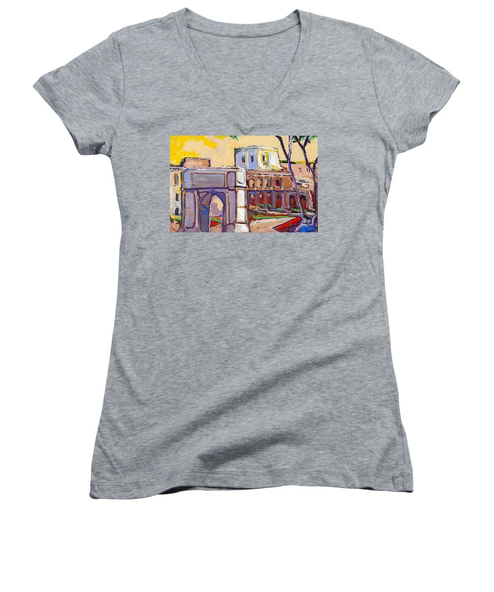 Rome Women's V-Neck (Athletic Fit) featuring the painting Arco Di Romano by Kurt Hausmann