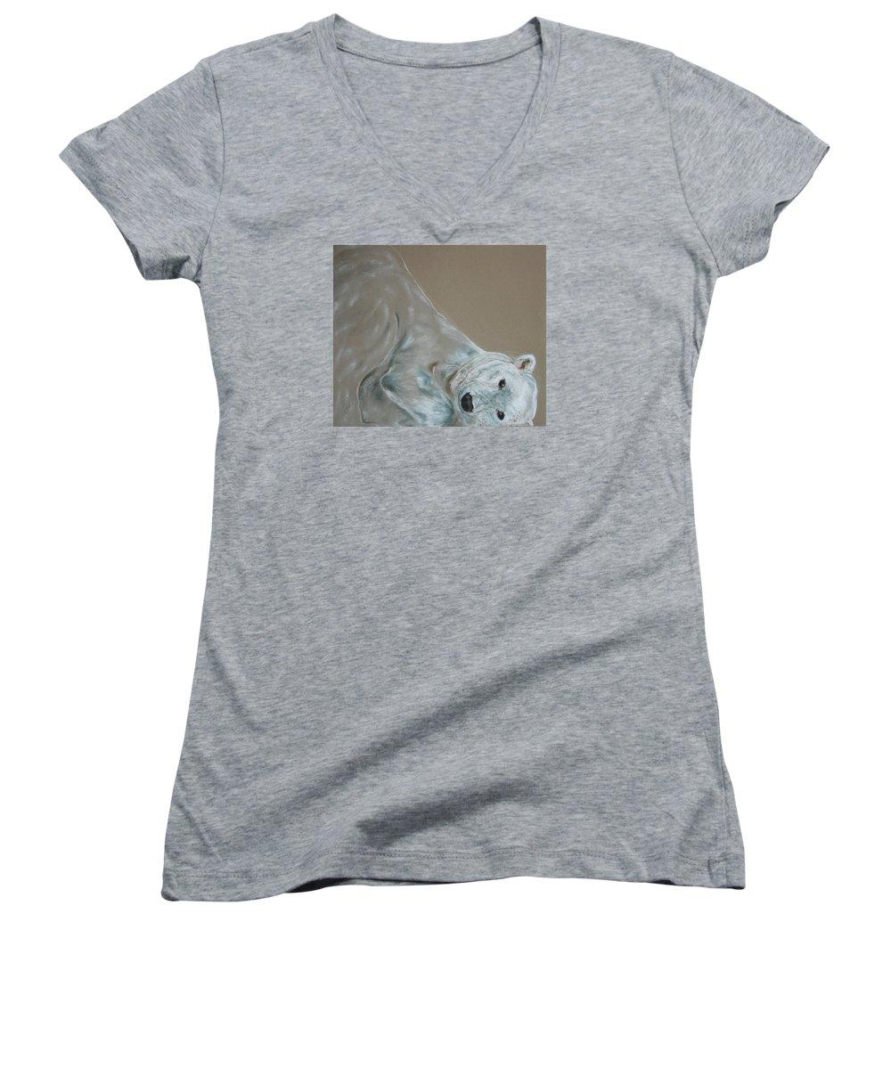 Polar Bear Women's V-Neck T-Shirt featuring the drawing Arctic Frolic by Cori Solomon