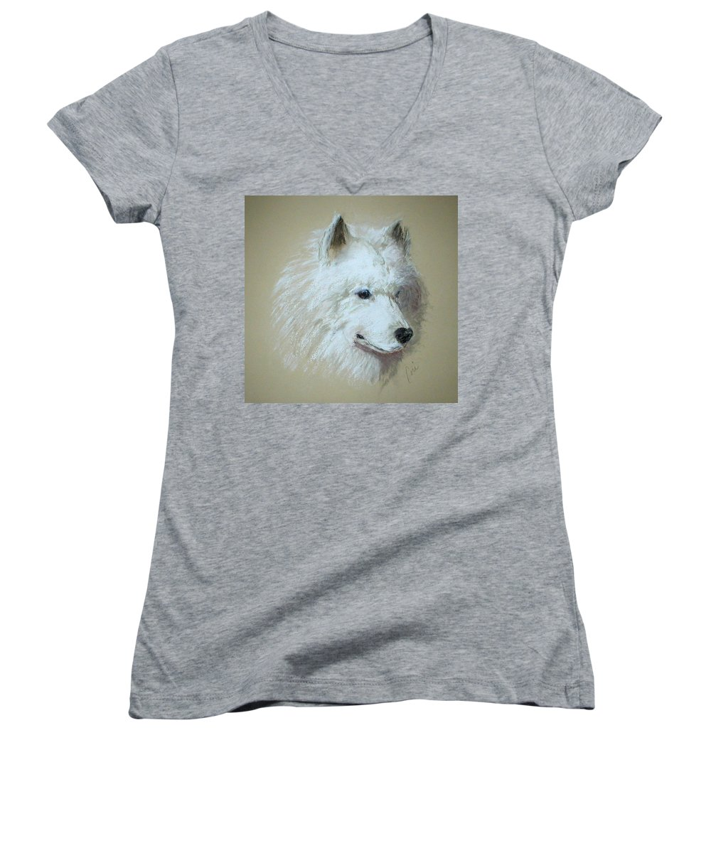 Dog Women's V-Neck T-Shirt featuring the drawing Arctic Serenity by Cori Solomon