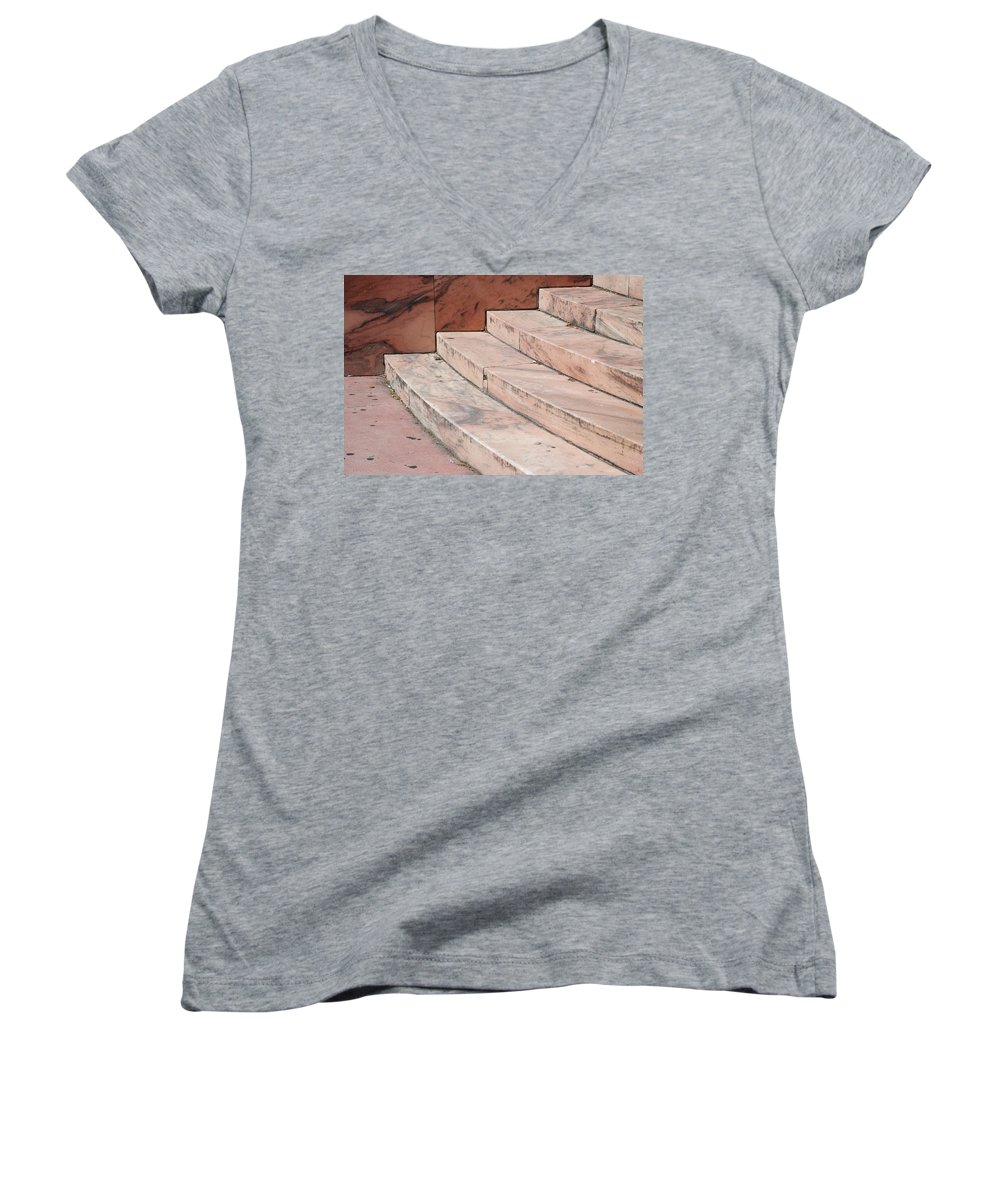 Architecture Women's V-Neck T-Shirt featuring the photograph Art Deco Steps by Rob Hans