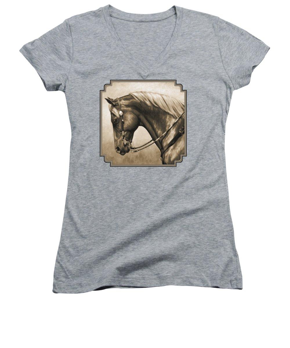 Horse Women's V-Neck T-Shirts