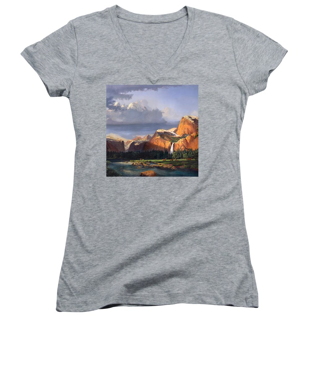 American Women's V-Neck T-Shirt featuring the painting Deer Meadow Mountains Western Stream Deer Waterfall Landscape Oil Painting Stormy Sky Snow Scene by Walt Curlee