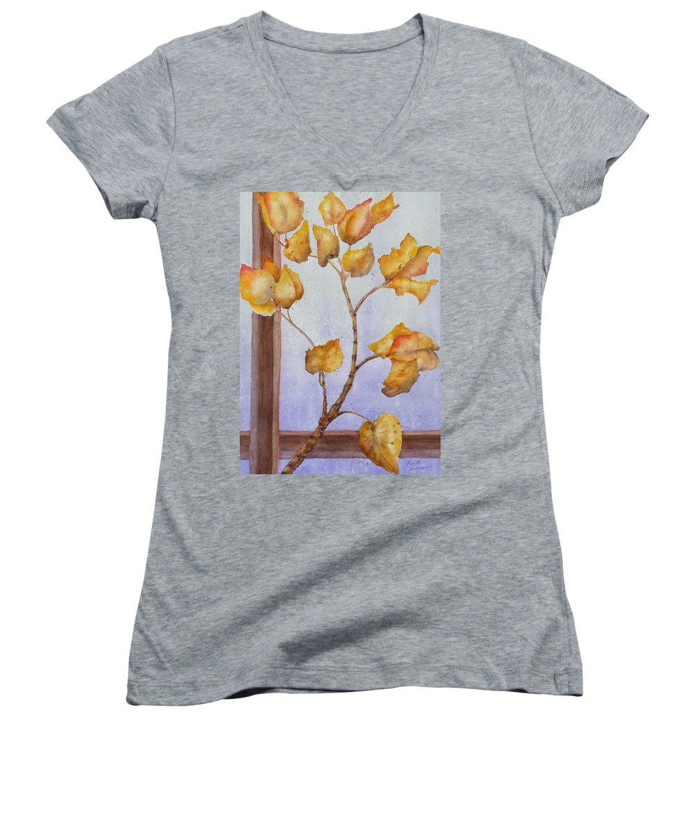 Leaves Women's V-Neck T-Shirt featuring the painting Aspen by Ruth Kamenev