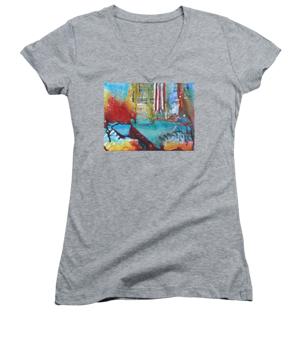 Abstract Women's V-Neck T-Shirt featuring the painting Atlantis Crashing Into The Sea by Ruth Kamenev